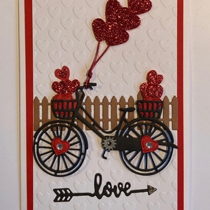 Szerelmes képeslap 8. bicikli, szív 3D Valentin nap, szerelem, Képeslap & Levélpapír, Papír írószer, Otthon & Lakás, Mindenmás, Papírművészet, Kivágással, domborítással  készítettem ezt a  kinyitható üdvözlőlapot szerelmeseknek. Becsukva 10,5 ..., Meska