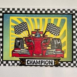 \'Győztes\', versenyautó képeslap, autóverseny, champion, No1, Forma 1, F1, Formula 1, autó, verseny, car race, Otthon & Lakás, Papír írószer, Képeslap & Levélpapír, Papírművészet, Vegyes technikákkal készítettem ezt az egyedi  képeslapot. Tintáztam, szilikon pecséttel nyomtam, ki..., Meska