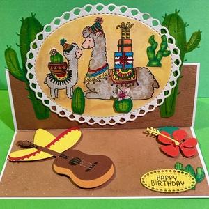 \'Lámák\' láma, alpaka, Mexikó, peru, kaktusz, gitár,sivatag, sombrero , lámamama képeslap, Otthon & Lakás, Papír írószer, Képeslap & Levélpapír, Papírművészet, Lámamama picinyével képeslapom kinyitható, kitámasztható.  Kézi készítésű, kézzel festett.\nMérete 14..., Meska