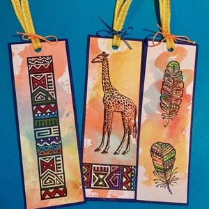 \'Könyvjelző Afrika\', toll, zsiráf, kézműves, Otthon & Lakás, Papír írószer, Könyvjelző, Papírművészet, Kézműves afrikai témájú könyvjelzőim mérete 15cmx5cm. Karton alapú, kézzel festett. Celofán tasakban..., Meska