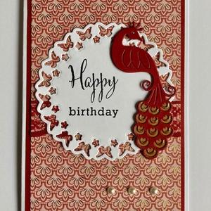 Pávás születésnap képeslap, páva, pillangóüdvözlet, ajándékkísérő,, Otthon & Lakás, Papír írószer, Képeslap & Levélpapír, Papírművészet, Meska