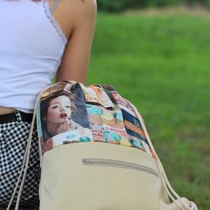 fesztivál táska - hátizsák - bézs Amerika, Hátizsák, Hátizsák, Táska & Tok, Varrás, Textilbőrből és kiváló minőségű designer pamutvászonból készült egyedi, kisszériás hátizsák, fesztiv..., Meska