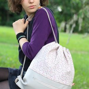 fesztivál táska - hátizsák - szürke csillagos, Táska, Divat & Szépség, Táska, Hátizsák, Varrás, Textilbőrből és kiváló minőségű designer pamutvászonból készült egyedi, kisszériás hátizsák, fesztiv..., Meska