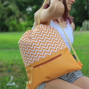 fesztivál táska - hátizsák - sárga chevron, Táska, Divat & Szépség, Táska, Hátizsák, Varrás, Textilbőrből és kiváló minőségű designer pamutvászonból készült egyedi, kisszériás hátizsák, fesztiv..., Meska