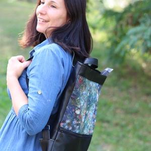 Női laptop táska fekete Van Gogh virágos, Táska & Tok, Laptop & Tablettartó, Laptoptáska, Varrás, Textilbőr és designer pamutvászon kombinációja. Elöl nagy zsebbel, amiben elfér a töltő és az egér. ..., Meska