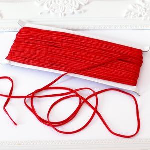 Sujtás zsinór PIROS, 30m tekercs, Textil, Piros színű sujtás zsinór, kb. 3 mm széles, bő 30m hosszú tekercs. Nagyon finom, puha, selymes tapin..., Meska