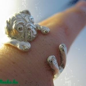 Ezüst mopsz gyűrű (minicsiga) - Meska.hu