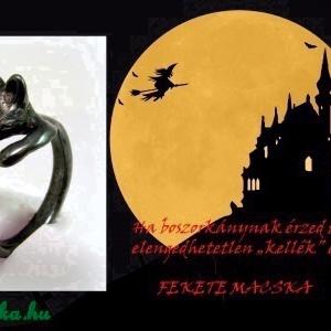 Oxidál ezüst (fekete) cicás gyűrű (minicsiga) - Meska.hu