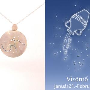 Ezüst vízöntő horoszkóp medál, vízöntő állatövi jegy, vízöntő csillagkép (minicsiga) - Meska.hu