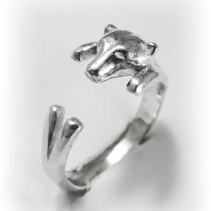 Ezüst/14K-os arany jegesmedve gyűrű, Figurális gyűrű, Gyűrű, Ékszer, Fémmegmunkálás, Ötvös, Egyedileg, kézzel viaszból mintázott, utána ezüstből kiöntött gyűrű\n\nMérete állítható! Körülbelül 58..., Meska