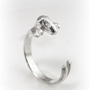 Ezüst Bedlington terrier gyűrű (minicsiga) - Meska.hu