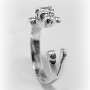 Ezüst/14K-os Shar pei gyűrű, Figurális gyűrű, Gyűrű, Ékszer, Ötvös, Ékszerkészítés, Egyedileg, kézzel viaszból mintázott, utána ezüstből kiöntött gyűrű\n\nMérete állítható!\n\nHa más állat..., Meska