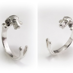 Ezüst Szálkás szőrű Tacskó gyűrű I., Ékszer, Gyűrű, Szobor, Képzőművészet, Otthon & lakás, Ékszerkészítés, Ötvös, Viaszból mintázom az állatos gyűrűket, utána ezüstből kiöntetem. Van lehetőség aranyból is kérni, eh..., Meska
