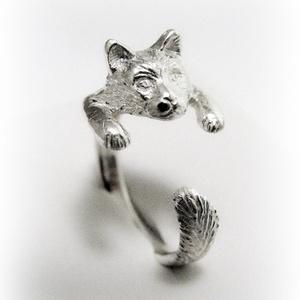 Ezüst Maine Coon cica gyűrű (minicsiga) - Meska.hu