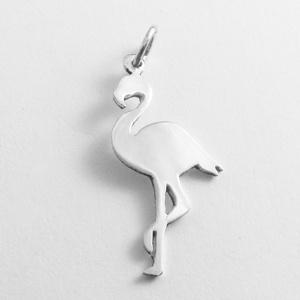 Ezüst flamingó medál - Minicsiga állatkertje, Medál, Nyaklánc, Ékszer, Ékszerkészítés, Ötvös, Egy új, a Minicsiga állatkertje kollekcióm egyik darabja ez a medál. Felnőtteknek, gyerekeknek egyar..., Meska