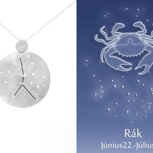 Ezüst rák horoszkóp medál, rák állatövi jegy, rák csillagkép ví, Medál, Nyaklánc, Ékszer, Ékszerkészítés, Ötvös, 925-ös ezüstből készül a medál színezett felületű réz drótokkal\nA drótok színét a földjegyek alapján..., Meska