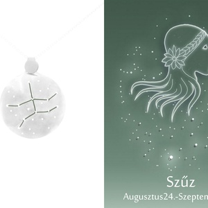 Ezüst szűz horoszkóp medál, szűz állatövi jegy, szűz csillagkép, Ékszer, Medál, Nyaklánc, Ékszerkészítés, Ötvös, 925-ös ezüstből készül a medál színezett felületű réz drótokkal\nA drótok színét a földjegyek alapján..., Meska