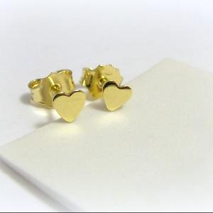 Arany szív alakú fülbevaló / szívecskés füli / baba fülbevaló, Pötty fülbevaló, Fülbevaló, Ékszer, Ékszerkészítés, Ötvös, Arany lemezből fűrészeltem ki a mintát\n14K-os arany, kérhető még fehér vagy rosé aranyból\n\nHa baba f..., Meska