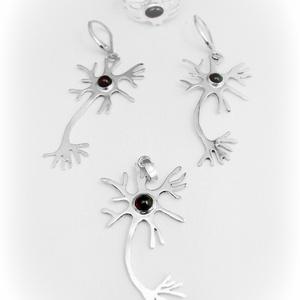 Ezüst Neuron-idegsejt szett, Ékszerszett, Ékszer, Ékszerkészítés, Ötvös, Egyedileg, kézzel kifűrészelt minden darabja, közepén gránit kővel.\nLehet kérni más kővel is!\n\nJelen..., Meska