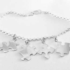 Puzzle, kirakó karkötő, Ékszer, Karkötő, Ékszerkészítés, Ötvös, Nagyon szeretek kirakózni, így készítettem pár puzzle ékszert 925-ös ezüstből. \nA boltomban megtalál..., Meska