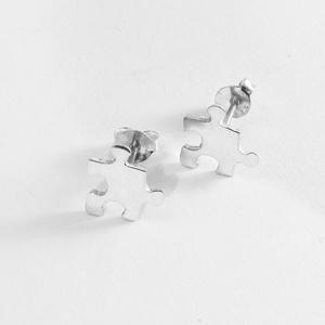 Puzzle, kirakó bedugós fülbevaló, Ékszer, Nyaklánc, Ékszerkészítés, Ötvös, Nagyon szeretek kirakózni, így készítettem pár puzzle ékszert 925-ös ezüstből. \nA boltomban megtalál..., Meska
