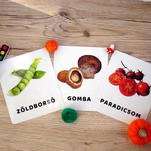 Tanulókártya-Zöldségek, Gyerek & játék, Játék, Baba játék, Társasjáték, Készségfejlesztő játék, Fotó, grafika, rajz, illusztráció, Varrás, mini PAKLI – Tanulókártya kicsiknek\n1-6 éves korig ajánlott.\n\nA kártyákon szereplő képek segítenek m..., Meska