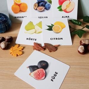 Gyümölcsök tanulókártya, Játék & Gyerek, Készségfejlesztő & Logikai játék, Fotó, grafika, rajz, illusztráció, Varrás, mini PAKLI – Tanulókártya kicsiknek\n1-6 éves korig ajánlott.\n\nA kártyákon szereplő képek segítenek m..., Meska