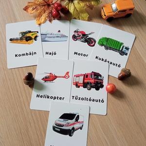 Járművek tanulókártya, Játék & Gyerek, Készségfejlesztő & Logikai játék, Fotó, grafika, rajz, illusztráció, Varrás, mini PAKLI – Tanulókártya kicsiknek\n1-6 éves korig ajánlott.\n\nA kártyákon szereplő képek segítenek m..., Meska