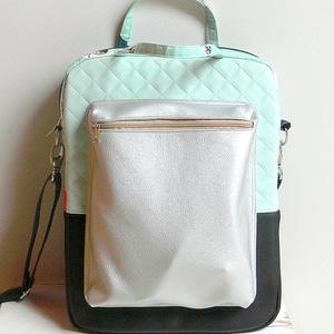 """Laptop táska menta-ezüst-fekete \""""Fancy\"""", Táska, Táska, Divat & Szépség, Laptoptáska, Varrás, Laptop táska 4 féle anyagból. \n Menta-ezüst-fekete textilbőrből és egy menta pamutvászonból\n\n*5mm sz..., Meska"""