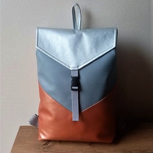 MOON Fedlapos Hátizsák, Táska & Tok, Hátizsák, Hátizsák, Varrás, Metál terra, ezüst és szürke színű textilbőrökből varrtam ezt a táskát.\nHátulja terra színű.\nÁllítha..., Meska