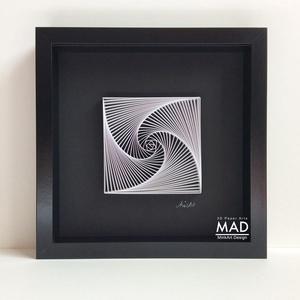 """Életspirál, az élet vonala: 3D falikép, fekete-fehér modern lakáskiegészítő minimalista stílusban., Festmény vegyes technika, Festmény, Művészet, Papírművészet, Szobrászat, Életspirál. - \""""fekete -fehér\""""\nPapírcsíkból készített (papírcsíkkal rajzolt ) falikép, modern geometr..., Meska"""