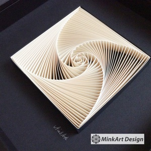 Spiral and Geometry, modern, minimal stílusú, 3D, egyedi quilling kép., Otthon & lakás, Lakberendezés, Falikép, Dekoráció, Papírművészet, Fotó, grafika, rajz, illusztráció, Egyedi, kézzel készült 3d falikép modern,  spirálgeometrikus mintázattal, skandináv stílusú keretben..., Meska