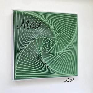 """Életspirál, névvel - Máté -  pasztelzöld színű, egyedi és modern 3D falikép, minimalista stílusban. , Otthon & lakás, Gyerek & játék, Gyerekszoba, Baba falikép, Papírművészet, Fotó, grafika, rajz, illusztráció, \""""Máté\"""" - pasztellzöld színű egyedi 3D modern falikép.\n\nÉletspirál - a névre szóló lakberendezési kie..., Meska"""