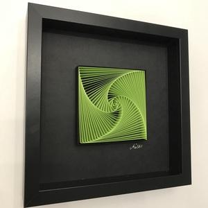 """Életspirál - \""""LIME\"""" -  egyedi és modern 3D falikép, minimalista stílusban. , Otthon & lakás, Lakberendezés, Falikép, Dekoráció, Papírművészet, Fotó, grafika, rajz, illusztráció, Életspirál. - LIME színű spirálgeometrikus minta fekete háttérrel, fekete keretben.\n\nPapírcsíkból ké..., Meska"""