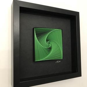"""Modern, fiatalos 3D falikép, zöld fekete modern lakáskiegészítő minimalista stílusban., Férfiaknak, Legénylakás, Otthon & lakás, Lakberendezés, Papírművészet, Szobrászat, Életspirál. - \""""zöld-fekete\""""\nPapírcsíkból készített (papírcsíkkal rajzolt ) falikép, modern geometrik..., Meska"""