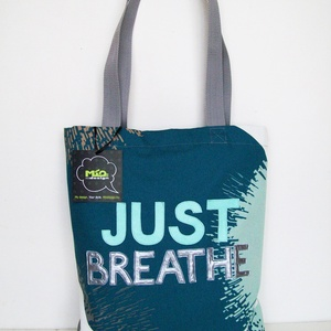 Just Breathe textil táska, Táska, Táska, Divat & Szépség, Szatyor, Válltáska, oldaltáska, Varrás, Vállra akasztható táska, belül cipzáros zsebbel és béléssel. A táska egyedi designnal készült, mindk..., Meska