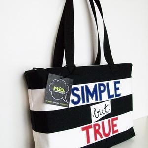 SIMPLE but TRUE textil táska, Táska, Táska, Divat & Szépség, Válltáska, oldaltáska, Szatyor, Varrás, Vállra akasztható táska, belül sima zsebbel és béléssel, hátoldalán cipzáros zsebbel, cipzáros záród..., Meska
