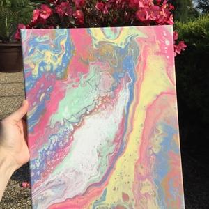 \'Vattacukor\' fluid art akril festmény, Művészet, Festmény, Akril, Festészet, Rózsaszín-sárga-zöld-kék színekben pompázó, nagyon vidám és aranyos igazi absztrakt, akril festmény!..., Meska
