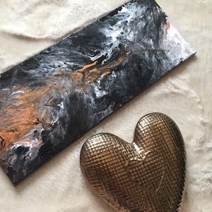 \'Láva\' fluid art akril festmény, Művészet, Festmény, Akril, Festészet, Fekete-fehér-narancssárga lávát ábrázoló fluid art akril festmény, igazi absztrakt.\nTökéletesen feld..., Meska
