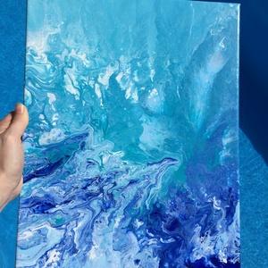 \'A tenger habjai közt\' fluid art akril festmény, Művészet, Festmény, Akril, Festészet, A tenger hullámzását bemutató, fluid art technikával készülő akril festmény!\nTökéletesen feldob mind..., Meska