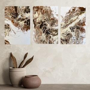 \'Homokvihar\' fluid art akril festmény szett, Művészet, Festmény, Akril, Festészet, Barna-fehér-bézs színű fluid art akril festmény, igazi absztrakt. Tökéletesen feldob minden fehér, v..., Meska