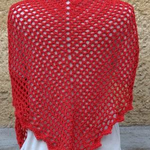 Piros vállkendő, háromszög alakú (Mircuska) - Meska.hu