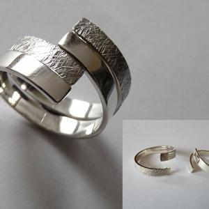 DuplaCsavar gyűrű, Ékszer, Gyűrű, Ötvös, Ékszerkészítés, Ez egy két darabból álló, egymásba illeszthető gyűrű, melynek darabjait egymástól elcsavarva változa..., Meska