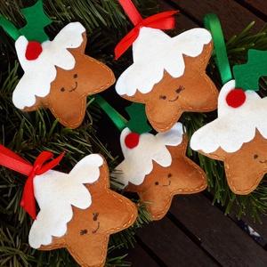 Mézeskalács csillag, Dekoráció, Karácsonyi, adventi apróságok, Karácsonyfadísz, Karácsonyi dekoráció, Varrás, Teljes mértékben kézzel vart dekorációs csillag. Filc anyagból varrtam, melyet vlies-zel töltöttem ..., Meska