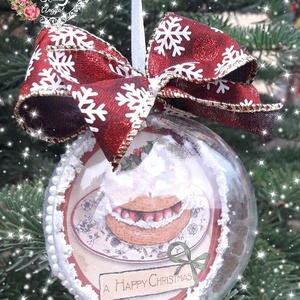 Karácsonyi gömbök, Dekoráció, Otthon & lakás, Ünnepi dekoráció, Karácsony, Karácsonyfadísz, Decoupage, transzfer és szalvétatechnika, Karácsonyi akrilgömbök, többféle mintával\n\nKöszönöm, hogy benéztél! :), Meska