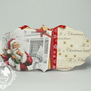 Karácsonyi üdvözlőtábla, Dekoráció, Otthon & lakás, Ünnepi dekoráció, Karácsony, Karácsonyi dekoráció, Decoupage, transzfer és szalvétatechnika, Üdvözlőtábla karácsonyra\n\nKöszönöm, hogy benéztél! :), Meska