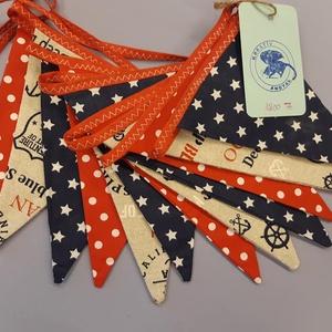 Zászló girland tengerész mintával, Dekoráció, Otthon & lakás, Varrás, Zászlós girland tengerész mintával.\n\nCsodás ajándék, ami a lakás dísze lehet. \n\n3 méter hosszú, 12 d..., Meska