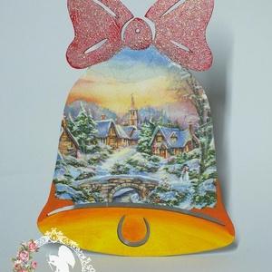 Harang formájú üdvözlőtáblák, Karácsonyi kopogtató, Karácsony & Mikulás, Otthon & Lakás, Decoupage, transzfer és szalvétatechnika, Üdvözlőtáblák karácsonyra\n\nHarang formában, különböző, bájos mintákkal\n\nKöszönöm, hogy benéztél! :)..., Meska