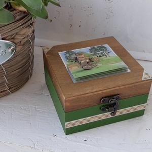 Mackós dobozka, Férfiaknak, Decoupage, transzfer és szalvétatechnika, Helyes dobozka, golfozó mackó mintával.\n\nA mackó 3D-s\n\nKöszönöm, hogy benéztél! :), Meska