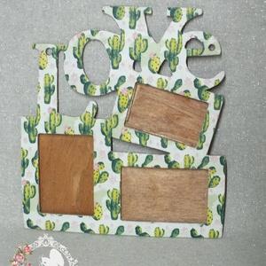 Kaktuszos képkeret, Otthon & lakás, Dekoráció, Lakberendezés, Képkeret, tükör, Decoupage, transzfer és szalvétatechnika, 3 kép tárolására alkalmas képkeret\n\nKaktusz mintával\n\nKöszönöm, hogy benéztél! :), Meska